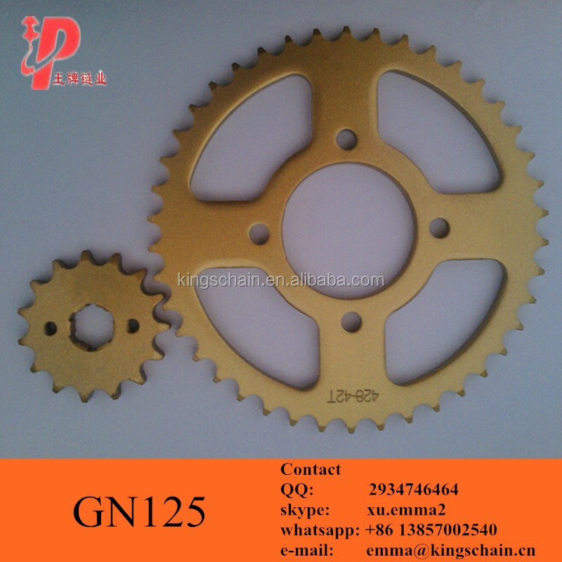 GN 125 motorcycle spare parts SAE 1045 GN125 42T 15T motorcycle sprocket kit
