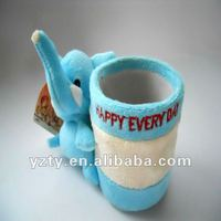 cute plush elephant shaped pen container & stufffed tubular penrack