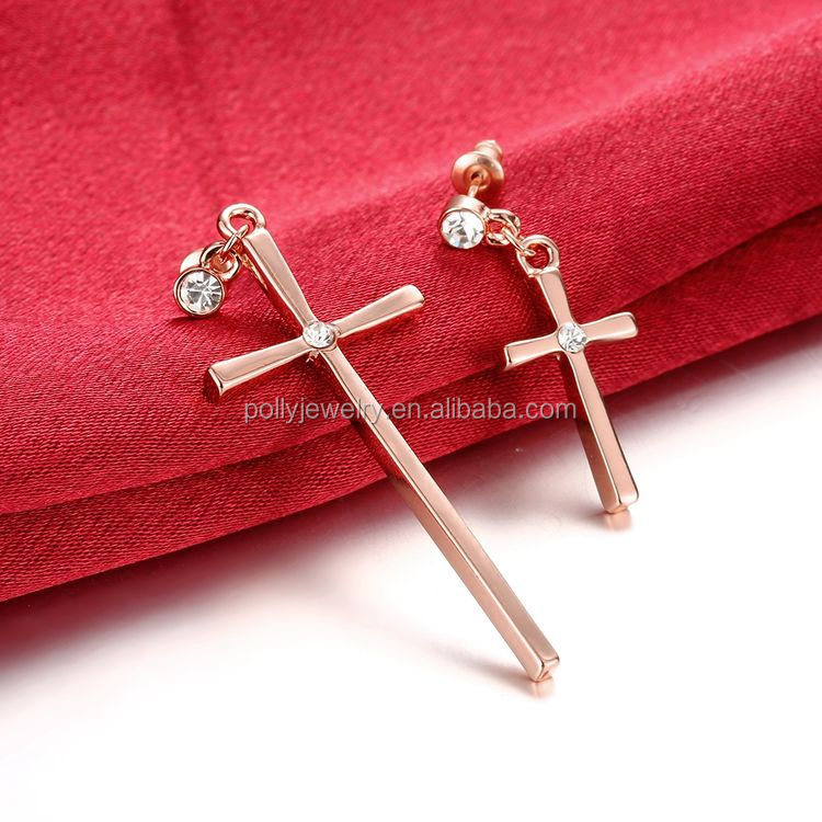 2018 Hot New Design Fashion Elegant Popular Dangle Long Cross Earrings