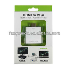 white plastic HDMI to VGA Converter with audio and DC port with 270 degree HDMI angle Price from 6.5 to 7.5