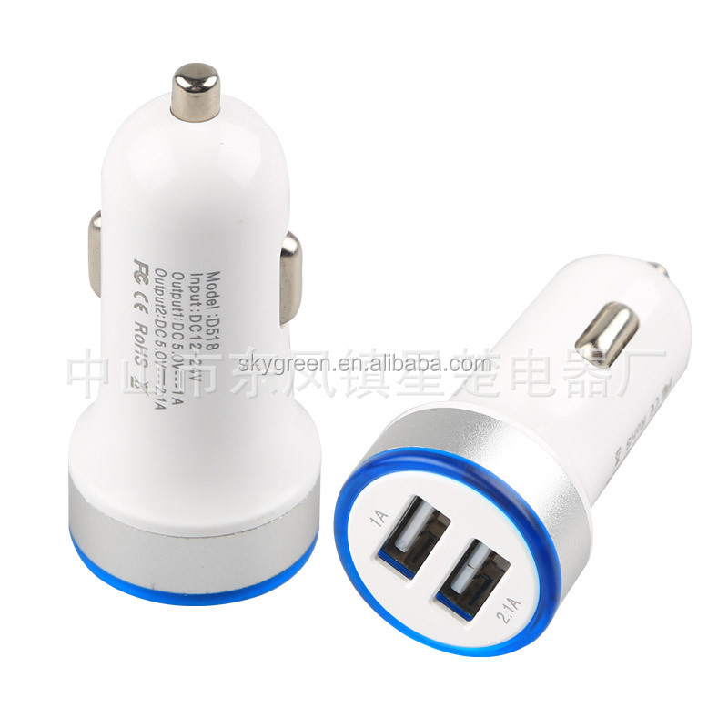 Dual USB 2A Mini Car Charger Adapter Purple For HTC One LG Nexus 5 Samsung Galaxy S6 S5 S4 Note 3, for iPhone 6 6S 5S