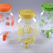 PET plastic juice jug with tap, water canister with tap