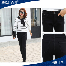 China Manufacture Fashional Black High Waisted Jeans