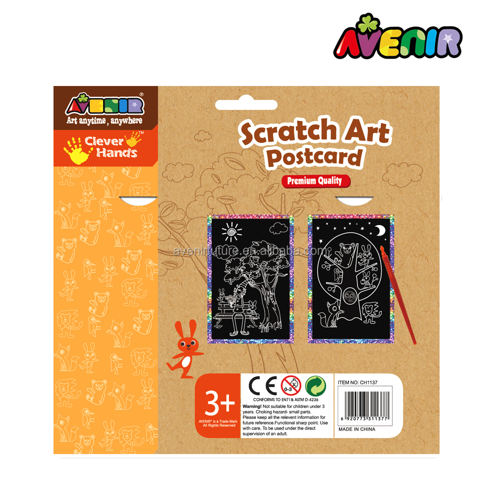 Avenir best art set for kids Paint scratch paper postcard -CH1137