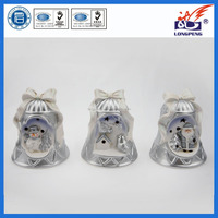 Ceramic lighted christmas bell shaped santa ornaments with LED for Christmas Tree Decorations