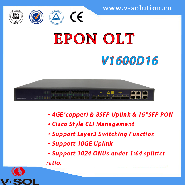 FTTH optical equipment 16PON GEPON OLT support WEB/EMS management