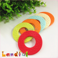 Sweet Rainbow Color Circle Ring Round Baby Toy Silicone Teether
