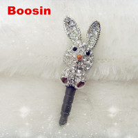 Lovely charm! Rhinestone rabbit charm animal iphone dust plug