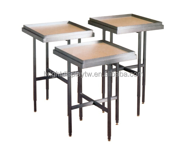 Promotion display table set with wooden top