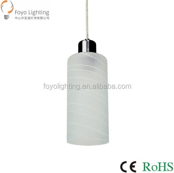 Factory Supplies White Glass and Stainless Steel Base Pendant Lamp for Home Lighting