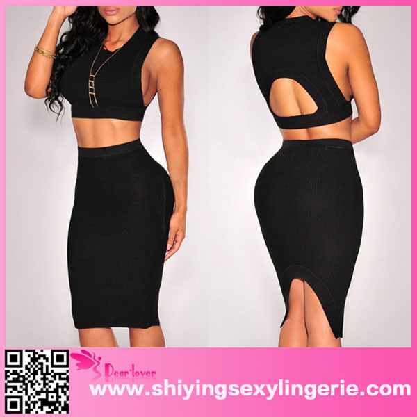 Sexy Wholesale Black Knit Ribbed Keyhole Top and Arched Vent Diane Freis Dresses Hong Kong