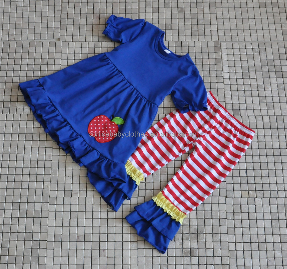 S1580 2016 BABY CLOTHES SET SUMMER GIRLS APPLE TOP BACK TO SCHOOL BOUTIQUE OUTFITS