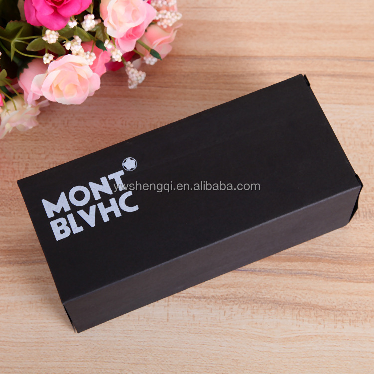 Low MOQ printing silvery logo <strong>custom</strong> made black sunglass packaging box