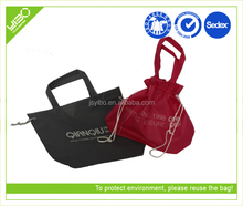 Recycle reusable foldable customized drawstring tote gym bags for women