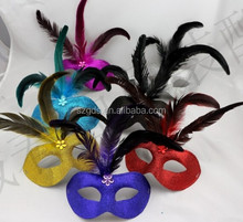 In stock 7colors New Venetian mask beautiful design feather mask purple feather masquerade mask