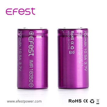 Accu Efest 700mah rechargeable battery, efest 18350 700mAh 3.7v Battery for Ecig and flashlight