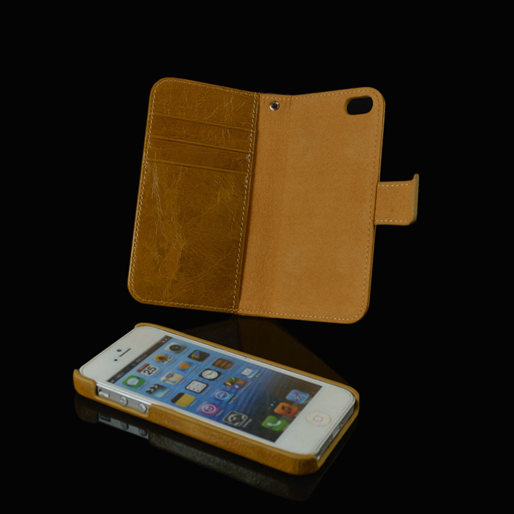 2016 Hot Stylish 2 in 1 Detachable Mobile Phone Case For Iphone 5s Cow Real Leather Case Wallet