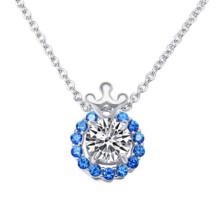 Fashion s925 sterling silver cz zircon diamond prong setting flower round shaped large crystal crown sapphire necklace