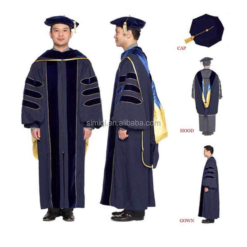 Doctoral Graduation Gown With Cap Phd Gown Academic Gown - Buy ...