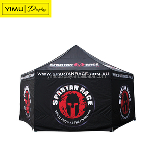 Hexagonal aluminum folding tent gazebo 4x8 with colourful wall for advertising
