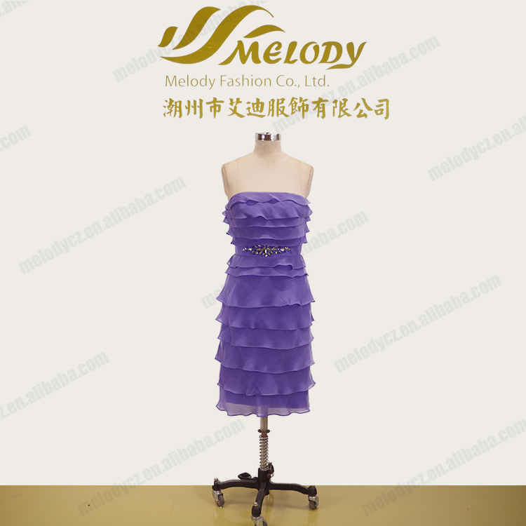 Purple beaded stone strapless short organza tiered cocktail dress for young girl