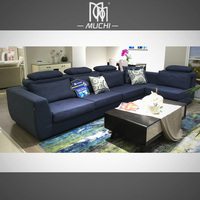 European Style High Quality Deep Blue Living Room Simple Wooden Sofa Set Design
