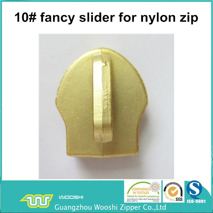10# charming slider for nylon zippers with customized puller
