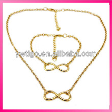 Hot fashion infinity necklace and bracelet set cheap initial infinity necklace
