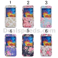 View Window Design Side Flip Stand PC+PU Leather Skin Cases for Samsung Galaxy S5 i9600