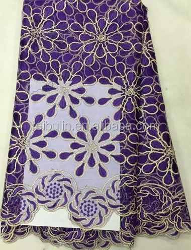 Latest Designs Purple African Embroidery 2017 Tulle Lace Fabrics nigerian french net lace fabric with stones for dresses TL1126