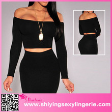2015 Wholesale Black Off-The-Shoulder Knit Crop Top Clothing Manufacturers
