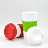 travel mug with push lid, bpa free reusable plastic coffee cup with silicone patch