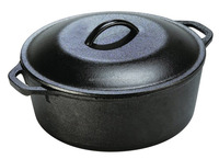 Pre Seasoned Cast Iron Dutch Oven with Dual Handle and Cover Casserole Dish, 5 Quart