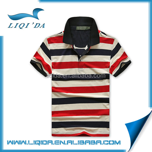 2016 Brand new custom handsome mens golf t-shirt with colorful stripe