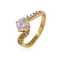 11501 Latest design simple jewels 14k gold color plated gold ring with CZ stone