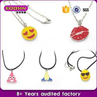 factory price Custom jewelry enamel rubber sports necklaces for kids