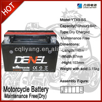 YTX9-BS Motorcycle Battery Lead Acid Battery Maintenance Free Battery