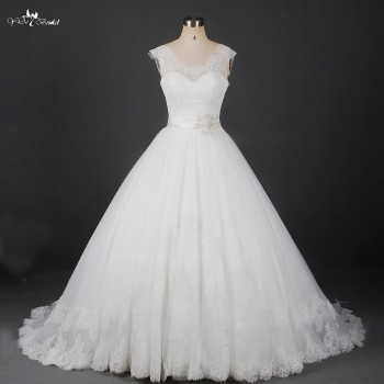 RSW912 Wholesale Alibaba Scoop Neckline Vintage Lace Wedding Dresses 2016 With Belt Bridal Ball Gown Wedding Gown