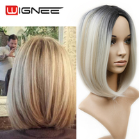 Ombre Wigs Black To Ash Blond Short Straight Heat Resistant Synthetic Hair Cosplay Or Party Bob Wigs For Black Or White Woman