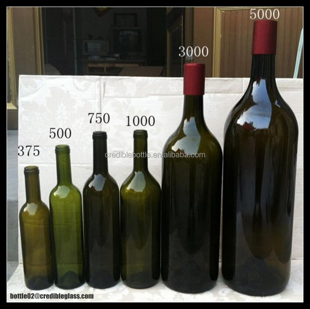 many kinds of red wine glass bottle/ customized glass wine bottle in set