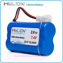 Mylion Li-ion18650 Rechargeable Customized Battery Pack 7.4V 2600mAh