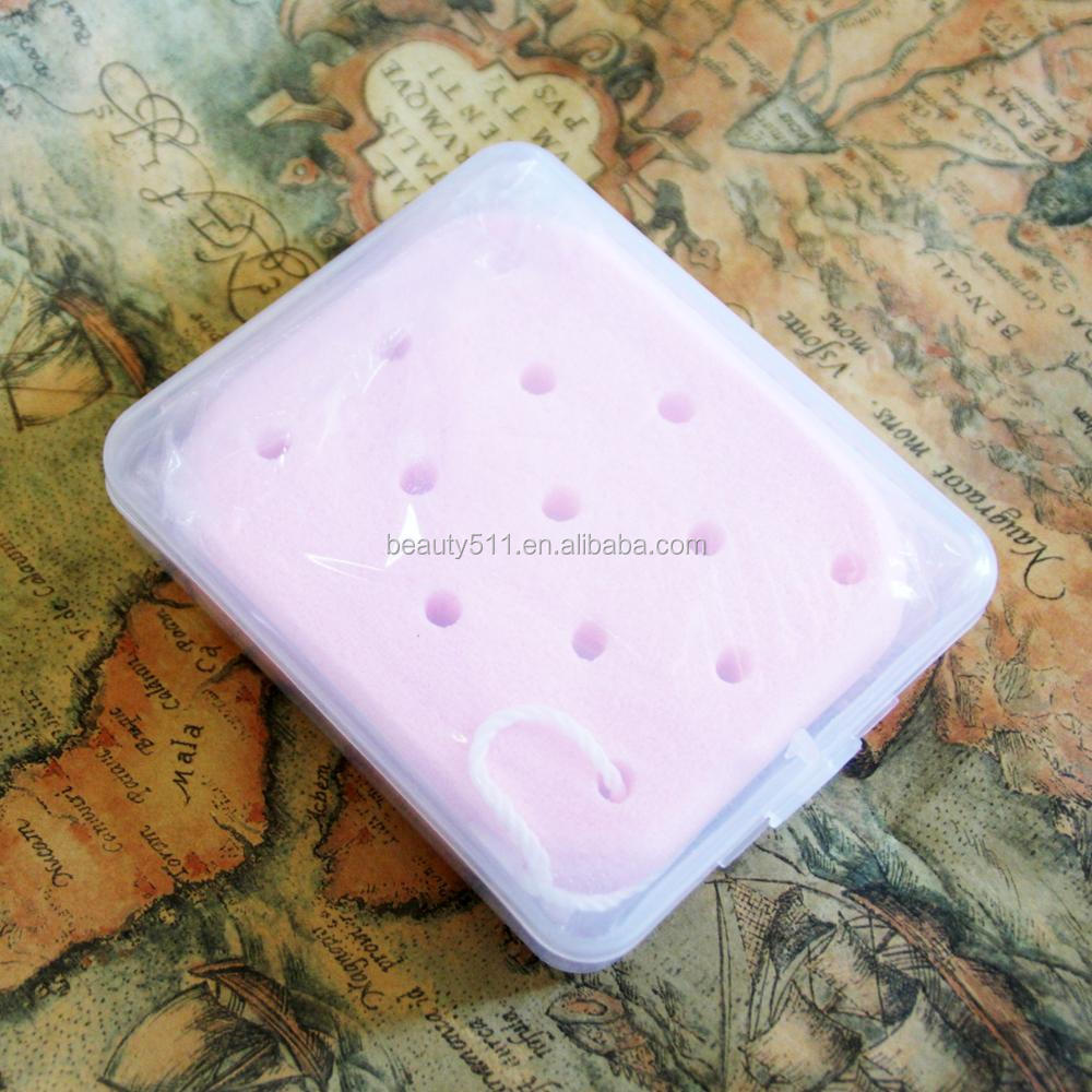 Wholesale Natural Rose Essence PVA Face washing puff/Sponge Cosmetic Puff with Sling