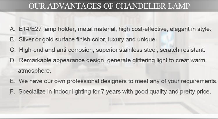 Chrome and champagne aluminium modern lighting chandelier light pendant lamp