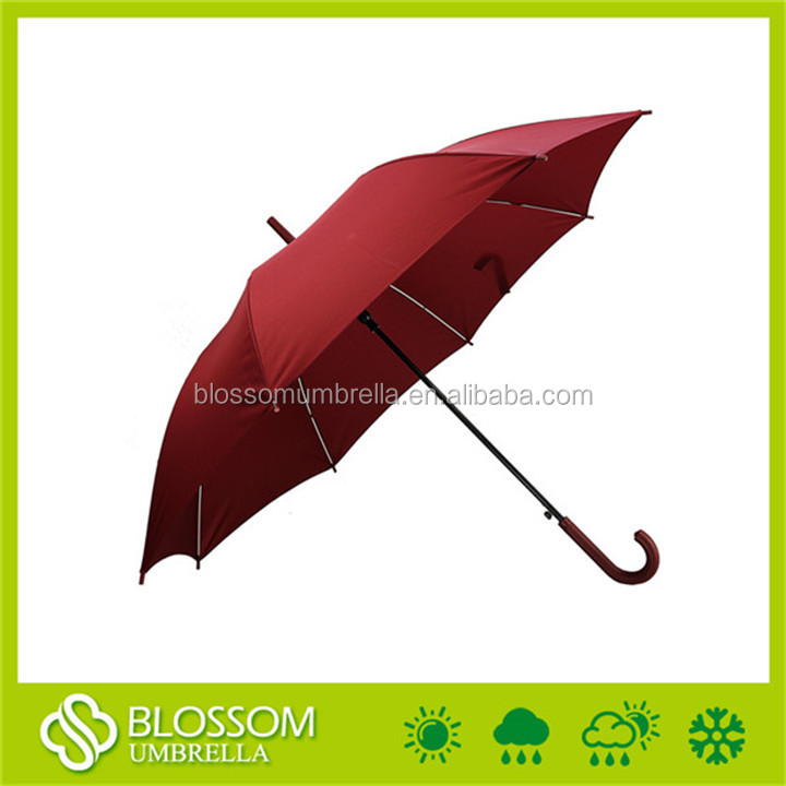 Straight red color waterproof polyester auto open umbrella plastic cover