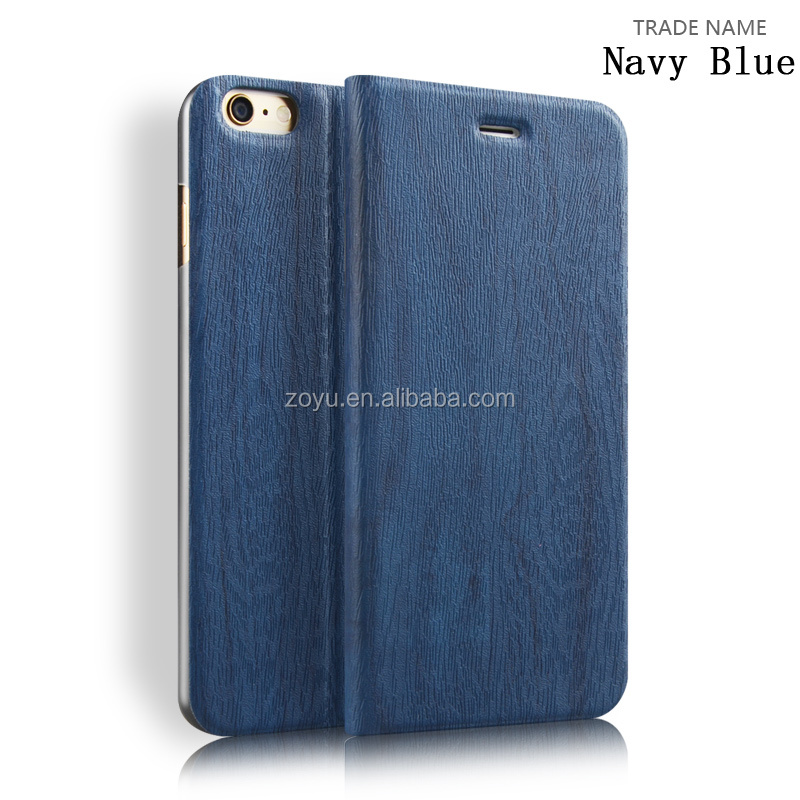2016 China Supplier Hot Selling New Products Wood Flip Cover Leather case for iphone6