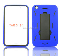 Cheapest wholesales price popular tough robot shockproof PC+Silicone rubber case for Samsung Galaxy Tab 3 8""
