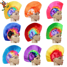 Halloween Party Wig Masquerade Punk Mohawk Mohican Hairstyle Cockscomb Wig Festival LED Light Rainbow Colors Wig