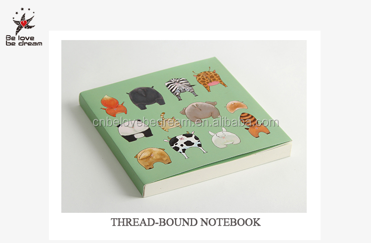paper animal printing cover thread notebook blank inner light paper for painting square notebook and diary