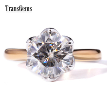 TRANSGEMS 3 Carati/ct F Colore Moissanite Anello 14 K Gold Wedding Anello Di Fidanzamento Per Le Donne Moissanite Diamond Ring