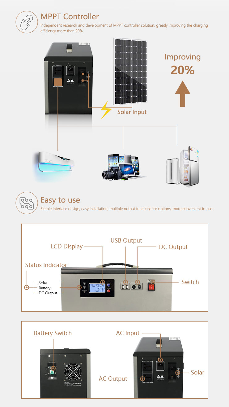 Residential 500w solar grid power home system / 500w solar power Generator / 500W solar